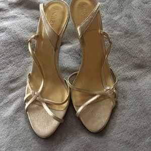 J.Crew Gold Sling Back Heels 8